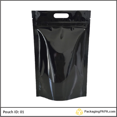 Standup Pouch Black with handle 01